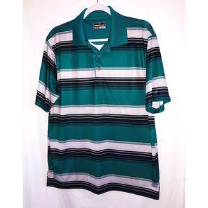 Striped polo collared shirt green black grey